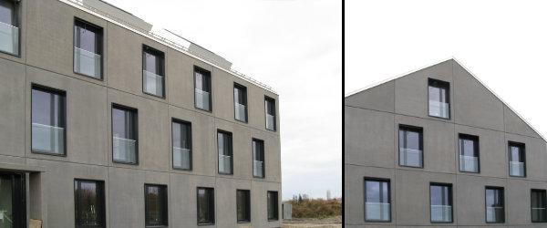 Mietwasch, Puchheim. Anthrazit eingefärbter Beton mit angesäuerter Oberfläche.